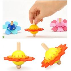 Børn Baby Træ Blomst Form Farverige Gyro Spil Legetøj