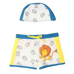 Child Badebukser Lion Tegneserie Trunks med Hat Badetøj Set