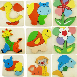Child Wooden Animal Solid Jigsaw Baby Puzzle Early Education Toy Brick
