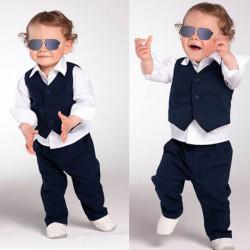 Children 3PCS Baby Gentleman Clothes Set Shirt Waistcoat Outfit