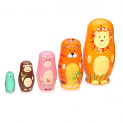 Children 5 Layers Handmade Wooden Animal Russia Matryoshka Toy