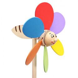 Children Assembling Classic Nostalgic Clown Windmill Wooden Toys