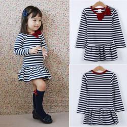 Children Autumn Stripe Bowknot Long Sleeve Causal Dress