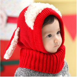 Kinder Kinder Dog Ear Design Wool Cap Kapuzenschal Earflap Hut