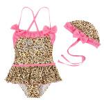 Barn Flickebarn Leopard Bikini Barn Baddräkt Siamesed Badkläder Barnprodukter