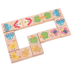 Children Beech Wooden Animal Domino Building Blocks Educational Toy