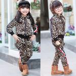 Barn Pojke Flicka Leopardtryck Fritid Sportkläder Set Suit Barnprodukter