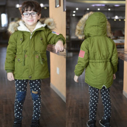 Children Boys Lamb Cashmere Padded Coat Hooded Thicken Warm Outwear