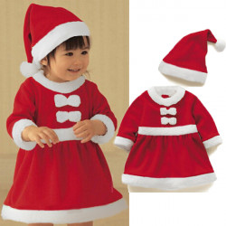 Children Christmas Girl Dress Boy Top+Pant+Hat Cap Party Clothes Sets
