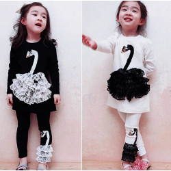 Children Girl Swan Pattern Long Sleeve T-shirt Cartoon Clothing Set