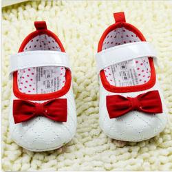 Kinder Mädchen Baby Bogen Schuhe Cotton Punkt weiche Krippe Bottom