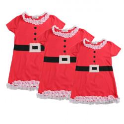 Children Girls Christmas Princess Flower Lace Belt Flounced Dress