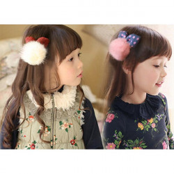 Children Girls Fur Cones Bowknot Hairband Hair Accessories