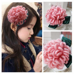 Children Girls Hair Accessories Mohair Flower Hairpin Barrette