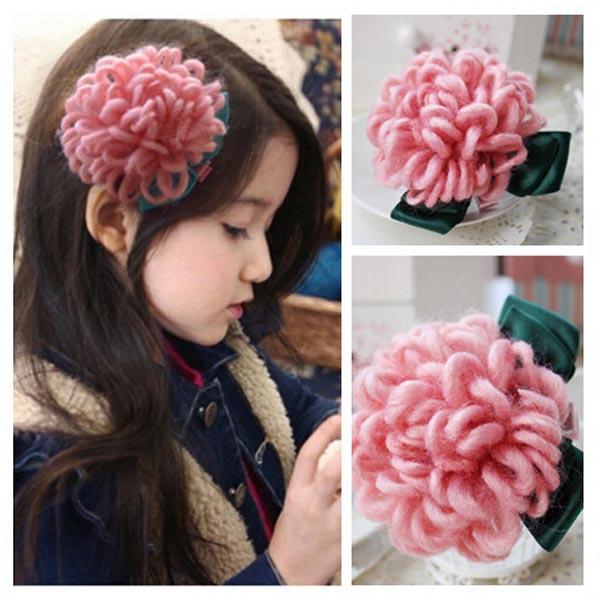 Children Girls Hair Accessories Mohair Flower Hairpin Barrette Baby & Mother Care