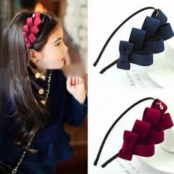 Kinder Mädchen Schichten Bowknot Hairband Haar Band Zubehör