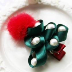 Children Girls Pearl Christmas Tree Hairpin Hair Accessories