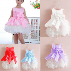 Children Girls Princess Big Bowknot Stitching Styles Dress