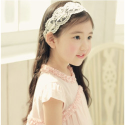 Children Girls Pure White Lace Hairband  Hair Accessories