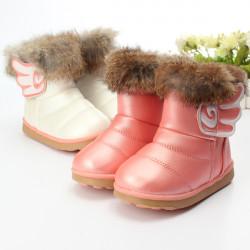 Barn Flickor Riktig Kaninpäls Pu Läderskor Vinter Varm Snö Stövlar