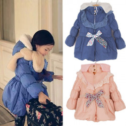 Children Girls Warm Fleece Hoodies Jacket Long Fleece Snowsuits