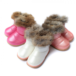 Children Snow Warm Boots PU Baby Leather Fur Shoes
