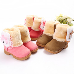 Children Toddler Baby Fur Zip Shoes Rabbit Boots