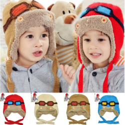 Children Toddlers Baby Aviator Cap Cool Warm Pilot Hat