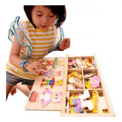 Kinder aus Holz Bären Familie Kleidung wechseln Puzzle Baby Spielzeug