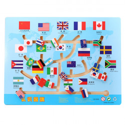 Children Wooden National Flags Maze Flag Labyrinth Puzzle Toy