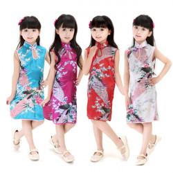 Kinesisk Klänning för Flickor Peacock Cheongsam Cheongsam Kläder Dräkter