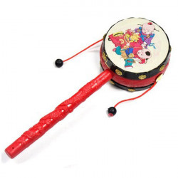 Kinesisk Rattle Drums Klassisk Legetøj Noise Maker Baby Legetøj