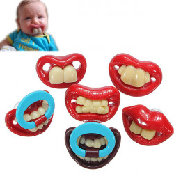 Cute Baby Funny Gagtooth Läpp Nappar Dummy Bitring Nippel