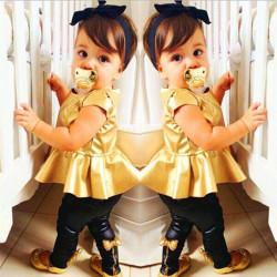 Nette Baby Freizeit Outfits Horn T Shirt Tops + Hosenanzug
