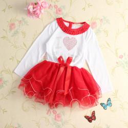 Sød Baby Piger I Love Santa Julekjoler ToTo Bowknot Tøj