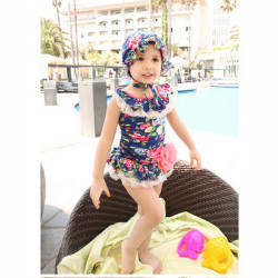 Cute Princess Baby Kid Siamesed Swimsuit with Swimming Cap