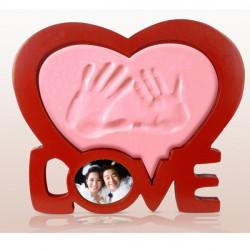 DIY Hjärtans Hjärta Hand Stämpeldynan Bröllop Kärlek Fotoram