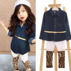 Fashion Kid Girls Jeans Denim Jacket Cardigan + Leopard Leggings Sets
