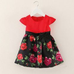 Flower Pleated Short Sleeve Infant Baby Kid Girl Dress