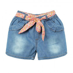 Mädchen Demin Shorts Kinder Jeans Hosen mit Blumen Gürtel