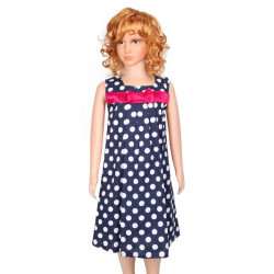 Girl Dot Sundress Pure Cotton Big Bow Dress Belt Dress