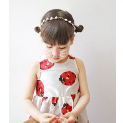 Girl Pearl Bead Decorated Ribbon Hairband Accessories