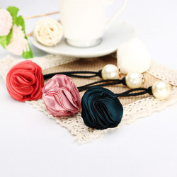 Girl Pearl Decorated Flower Elastic Hair Rubber Rope Hair Accessories