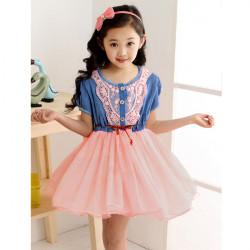 Girls Baby Kids Princess Lace Belt Denim Tulle Full Dress