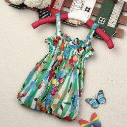 Girls Chiffon Floral Ruffle Jewelry Tops Shirt Dress Baby Braces Skirt