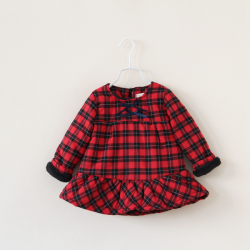 Girls Christmas Princess Long Sleeve Plaid Thick Dress Winter Clothing