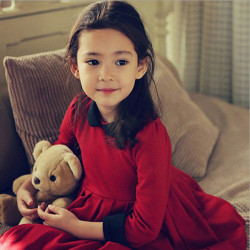 Girls Classic Style Long Sleeve Thick Winter Dress Kids Clothing