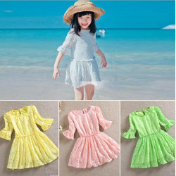 Girls Openwork Lace Double Trumpet Cotton Dress