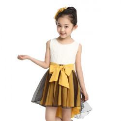 Girls Princess Sleeveless Big Bow-knot Asymmetric Lace Dresses