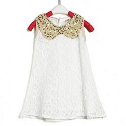Mädchen Prinzessin ärmellose Spitze Pailletten Revers Weste Kragen Kleid